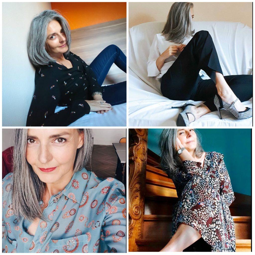 Sandrine, cheveux gris, blog quinqua